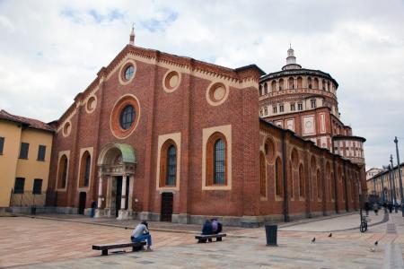 mil�n: Santa Maria delle Grazie en Mil�n iglesia. Los anfitriones de la pintura de Leonardo da Vinci: la