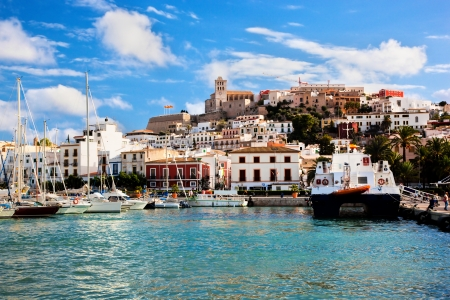 Panorama of Ibiza old city - Eivissa. Spain, Balearic islands