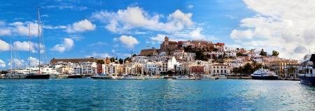 spain: Panorama of Ibiza old city - Eivissa. Spain, Balearic islands