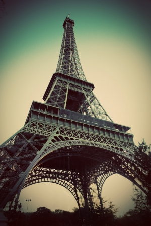 Eiffel Tower in Paris, Fance. Vintage, retro style