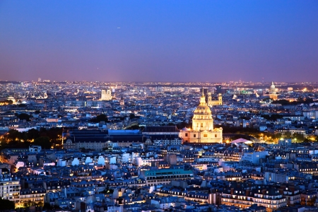 Paris panorama, France at night. View on Les Invalides from Eiffel Tower.