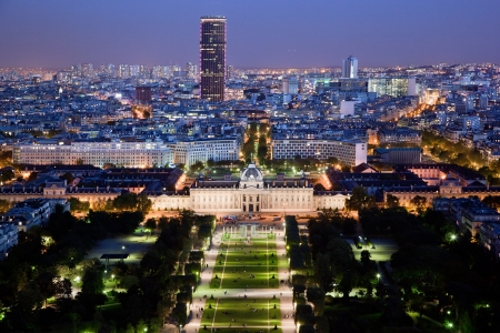 Paris panorama, France at night. View on Field of Mars and Montparnasse Tower from Eiffel Tower.