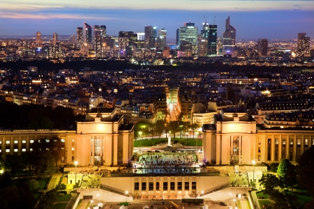 paris night: Paris panorama, France at night. View on La Defense from Eiffel Tower.
