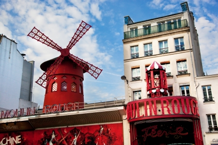 rouge: Moulin Rouge cabaret - Red Mill on Montmartre, Paris, France
