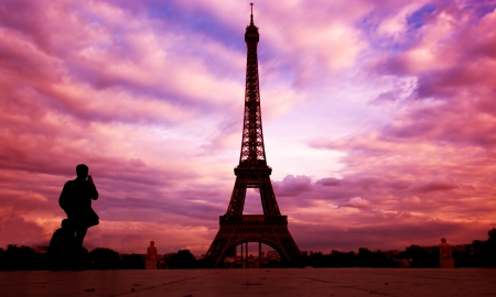 Eiffel Tower in Paris, Fance. Sunset sky photo