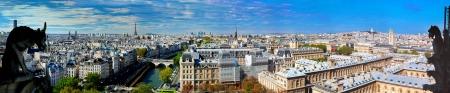 パリ パノラマ、フランス。ノートルダム大聖堂からエッフェル塔とセーヌ川の上を表示します。 写真素材