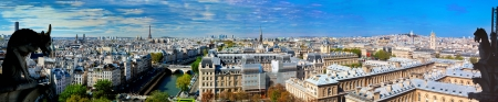 Paris panorama, France. View on Eiffel Tower and Seine river from Notre Dame Cathedral photo