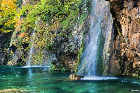 crystal clear: Waterfall in forest. Crystal clear water. Plitvice lakes, Croatia