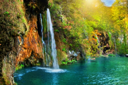 waterscape: Waterfall in forest. Crystal clear water. Plitvice lakes, Croatia