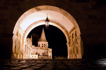 buda: Fishermans Bastion on the Buda Castle hill at night in Budapest, Hungary