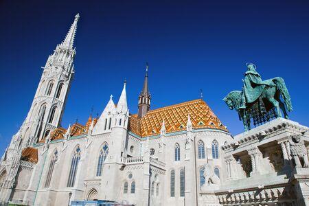 matthias: Matthias Church and statue of Stephen I of Hungary on Fishermans bastion. Budapest, Hungary Stock Photo