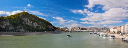 Gellert Hill and Danuber River in Budapest, Hungary. photo