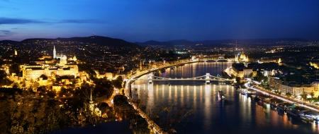 old center: Budapest, Hungary panorama at night, Danube river. View from Gellert Hill