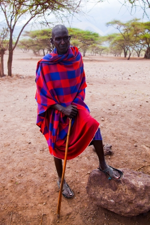 Ngorongoro Conservation Area, TANZANIA, AFRICA - DECEMBER 11: Maasai man portrait in traditional clothes on December 11, 2012 in Ngorongoro Tanzania. Maasai people are among the best known of African ethnic groups, due to their residence near the many gam