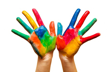 Painted hands, colorful fun. Creative, funny and artistic means happy! Isolated on white. photo