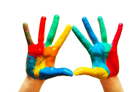 Painted hands, colorful fun. Creative, funny and artistic means happy! Isolated on white. Stock Photo - 18876139
