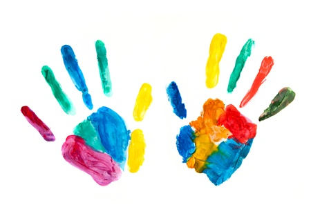 kids painted hands: Hands painted, stamped on paper, colorful fun. Creative, funny and artistic means happy! Isolated on white. Stock Photo