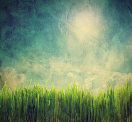 Vintage, retro image of nature landscape with grass and sunny sky. Grunge and creased canvas texture photo