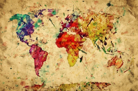 vintage world map: Vintage world map. Colorful paint, watercolor, retro style expression on grunge, old paper. Stock Photo