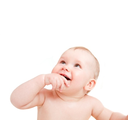 Cute happy baby smiling and looking above. White background copy-space Stock Photo - 20336975