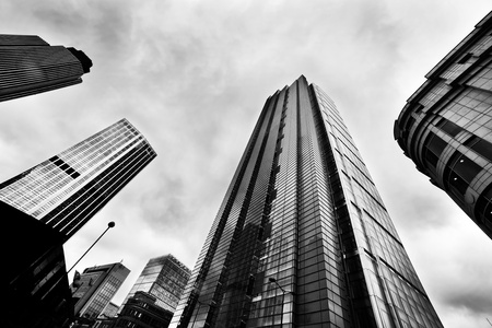 Business architecture, skyscrapers in London, the UK. Black and white