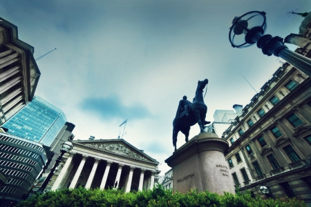 Bank of England, the Royal Exchange and the Wellington statue in London, the UK