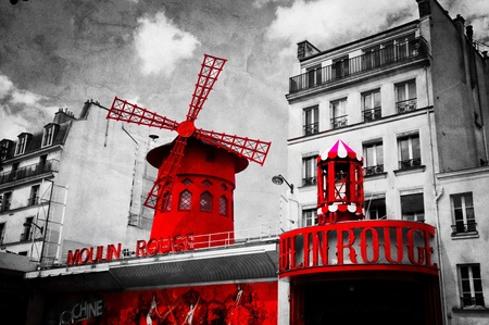 PARIS, FRANCE - June 9: The Moulin Rouge vintage retro depiction in black and white with red elements, on June 9, 2013 in Paris, France. Moulin Rouge is the most famous Parisian cabaret