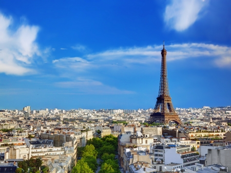 birds eye view: Rooftop view on the Eiffel Tower from Arc de Triomphe. Sunny day, blue sky. Tour Eiffel