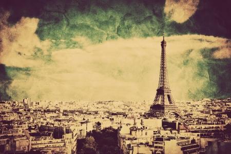 invalides: View on the Eiffel Tower and Paris from Arc de Triomphe. Vintage retro style. Tour Eiffel Stock Photo