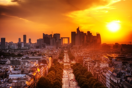 View on La Defense and Champs-Elysees at sunset in Paris, France.