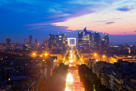 la defense: View on La Defense and Champs-Elysees at sunset in Paris, France.
