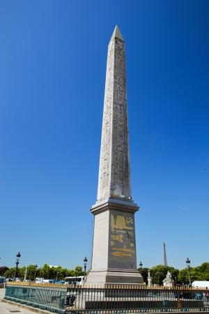 obelisk stone: The Luxor Obelisk, French Obelisque de Louxor at the Place de la Concorde in Paris, France Editorial