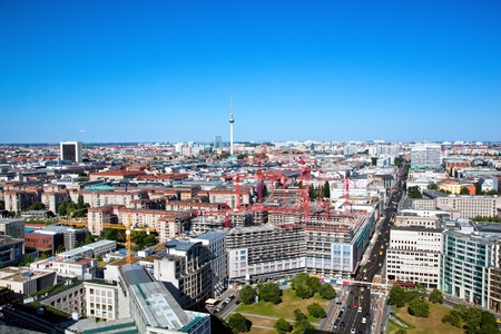 Berlin panorama. Top view on Television Tower, Berlin Cathedral - German Berliner Dom photo