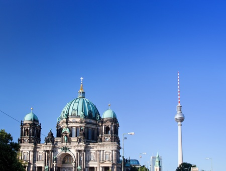 Berlin Cathedral and TV Tower, Berlin, Germany. Sunny blue sky photo