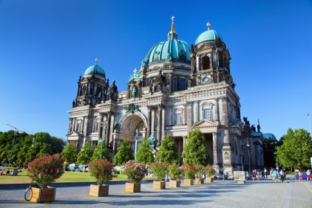 dom: Berlin Cathedral. Berliner Dom, Germany. Street view