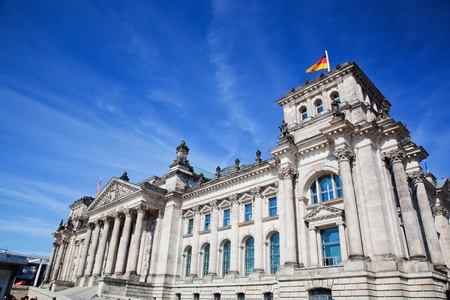 The Reichstag building of the German parliament Bundestag in Berlin, Germany photo