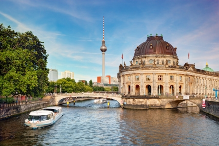 bode: The Bode Museum on the Museum Island in Berlin, Germany  Tourist ship on River Spree
