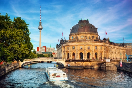 spree: The Bode Museum on the Museum Island in Berlin, Germany  Tourist ship on River Spree