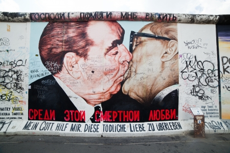 longest: BERLIN, July 26  Graffiti at the East Side Gallery on July 26, 2013 in Berlin, Germany  Possibly the largest and longest open air gallery in the world  East Side Gallery documents a time of change and express the euphoria and great hopes for a better futu