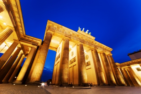 Brandenburg Gate. German Brandenburger Tor in Berlin, Germany. Illumination at night photo
