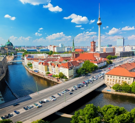 spree: Berlin, Germany rooftop view on Television Tower, Berlin Cathedral, Rotes Rathau and the River Spree. Major landmarks under sunny blue sky