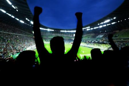 Voetbal, voetbal fans steunen hun team en viert doel, score, overwinning. Vol stadion