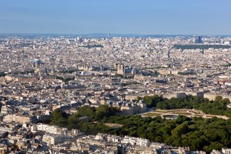 notre: Paris, France top view on Notre Dame de Paris and Luxembourg Gardens