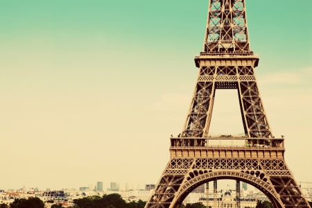 Eiffel Tower middle section, the city in the background, Paris, France. Vintage, retro style Stock Photo