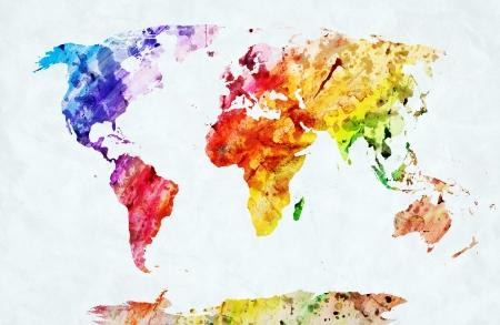 수채화의 세계지도. 흰 종이에 다채로운 페인트. HD 품질
