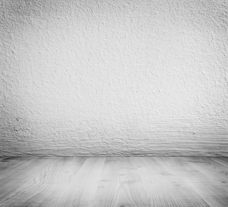 White minimalist plaster, concrete wall background and white wooden floor. High resolution, good for templates, backgrounds, textures.