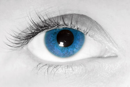 contact lens: Female beauty, blue eye close-up. Looking at the camera.