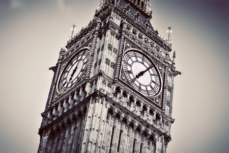 Big Ben, the bell of the clock close up. The famous icon of London, England, the UK. Black and white vintage style photo
