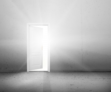 better business: Open door to a new better world, the sun light shining through doorway  Conceptual new way, entrance to new world, life, hope