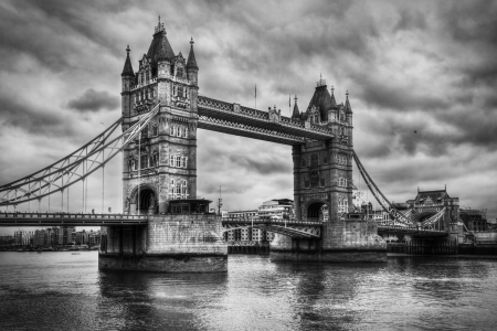 Tower Bridge in London, the UK  Black and white, artistic vintage, retro style Éditoriale